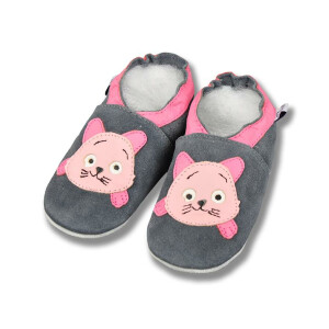 Baby Schuhe Kitty rosa-grau Gr 23-24 XL 18-24 Monate